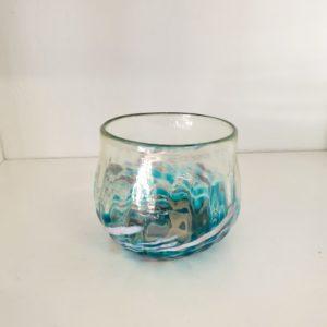 Tealight Candleholder $100 Teal swirl